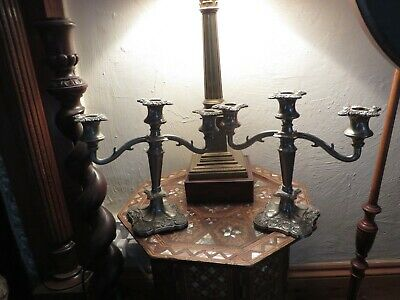 Pair of Antique ornate stag antler stye silver plated candlesticks Decorators