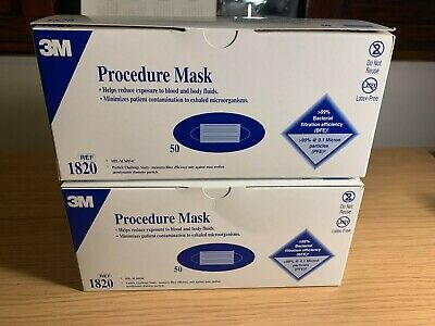 3M 1820 Earloop Procedure Surgical Face Mask - 1 box - 50 Mask Exp: 11/2021