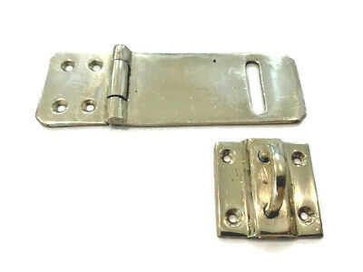 box catch hasp latch vintage style house POLISHED DOOR heavy rectangle 11 cm
