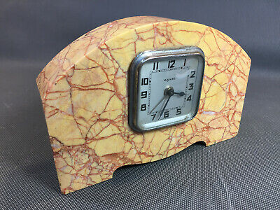 Antique Small Clock in Made Bayard Base in Marble Vintage Made in France