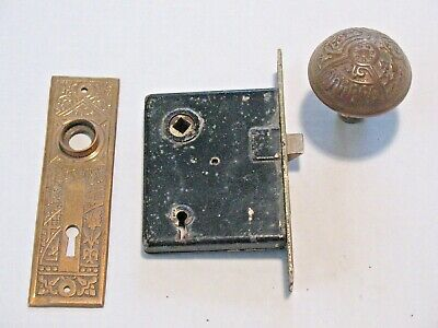 Mortise Lock Door Knob & Back Plate 1890s All Brass Antiques