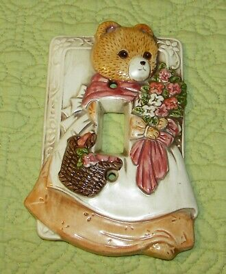 Vtg Takahashi Girl Lady Bear Light Switch Cover Excellent!