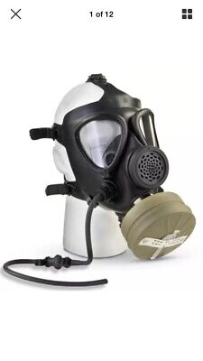 Israeli Military Surplus M15 Gas Mask w/ Filter Fits Most Faces Large Lenses NEW