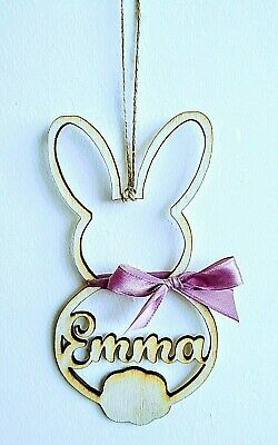 Personalised Name Wooden Easter Bunny Ornament Plaque Kids Gift