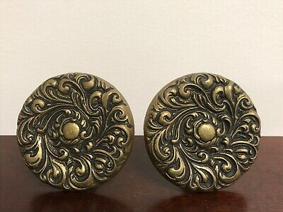 "Vintage Curtain Tie Backs Pair - Ornate Cast Brass Repousse  - 3-3/4"" 12 oz each"