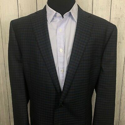 Austin Reed 48L Blue & Brown Check 2-Button Wool Dual-Vented Sports Coat