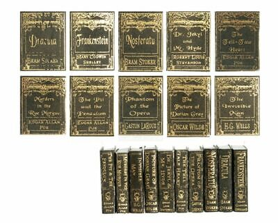 Book BLUE Gold Embossed 1:12 #P1006 BLUE Library School Doll Miniature Books 2