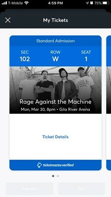 Rage Against The Machine Aisle Tickets (2) 3/30/20 Glendale, AZ Gila River Arena