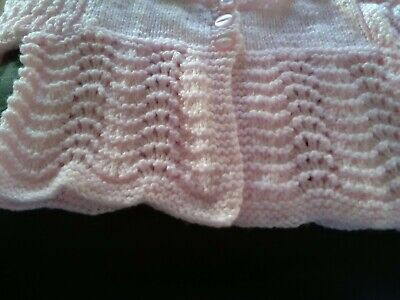 Babies  girls first size cardigan hand knitted new baby pink colour two buttons