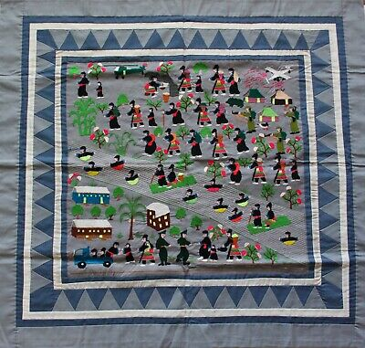 """Hmong Hand Made Embroidered Folk Story Cloth, Crossing the Mekong (32.5""""x35"""")"""