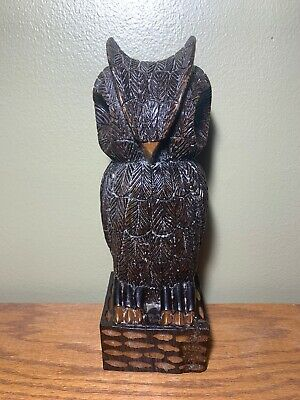Owl Carving antique vintage statue hand carved wood Folk Art Singed