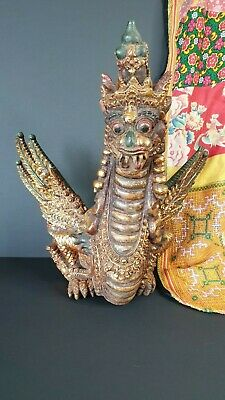 Old Balinese Carved Temple Fruit Wood Dragon …beautiful Collection & display pie