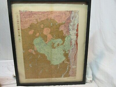 "1901 GEOLOGIC MAP of NEW YORK ADIRONDACK SHEET FRAMED 26 1/2"" BY 22 1/2"""
