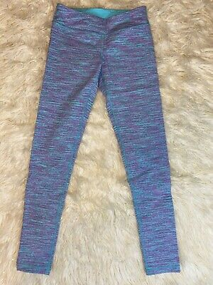 Ivivva Girls 10 Leggings Blue Turquoise Purple Space Dye Yoga Athletic Pants EUC
