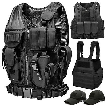 Military Tactical Vest Molle Plate Carrier for SWAT Police Hunting Airsoft Black
