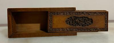 Chinese Qing Period Carved Sandalwood Antique Slide Box