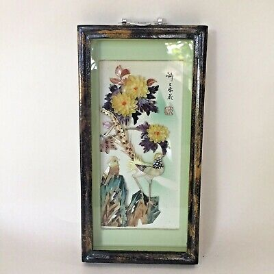 Vintage Coloured Shell Picture Dalian China Original Frame Pheasants Flowers