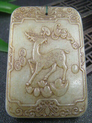 Antique Chinese Celadon Nephrite Hetian-OLD-Jade Hollow Sika deer Statue/Pendant