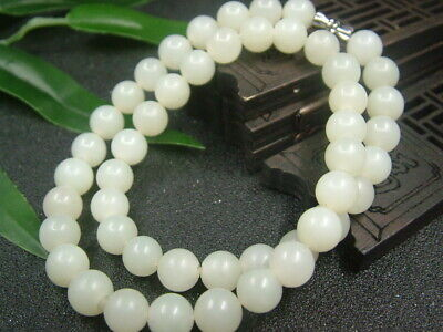 Antique Chinese Nephrite Hetian old   jade 9mm Beads Necklace Pendant