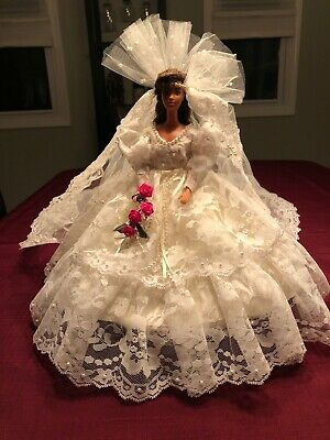 Vintage Handmade Barbie Doll Bridal Gown with 2 ft Lace Train and Veil