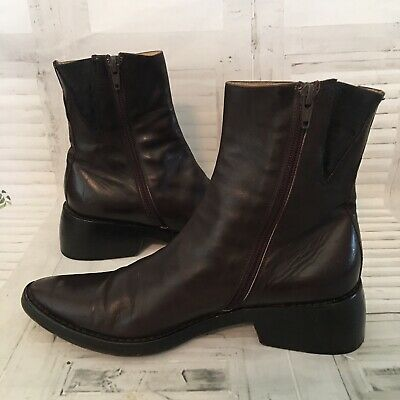 Ann Demeulemeester Brown Leather Pointy Toe Ankle Cut Boots Zip Booties Sz 8