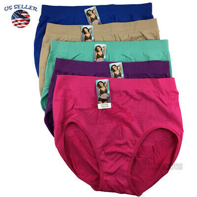 5 Pack Women Cotton Underwear Panties Briefs Size Full Cover Hipster Softer