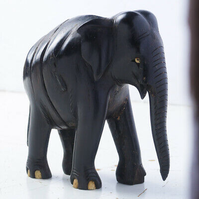 "Old Carved Ebony Elephant Figurine - 6"" Tall"