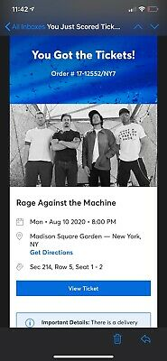 Rage Against the Machine 2 tickets Sold Out MSG 8/10