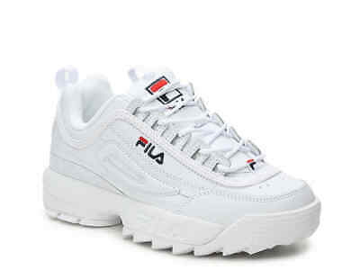 FILA Disruptor II Men's Premium Leather Sneakers White/Fila Navy/Red Shoes