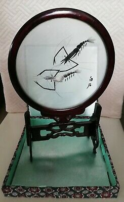 Vintage Chinese Silk Shrimps Double Sided Embroidery In Glass With Wood Stand