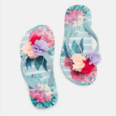 Joules JNR FLIP FLOP Girls Casual Cute PomPom Sandals Printed Blue Floral Stripe