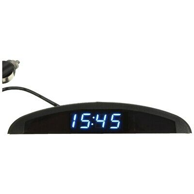 3-in-1 Car 12V Digital LED Voltmeter Voltage Temperature Watch Thermometer, Blue