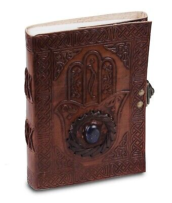 Notepad Notebook Blank Diary Brown with Stone Handmade Leather Journal Travel