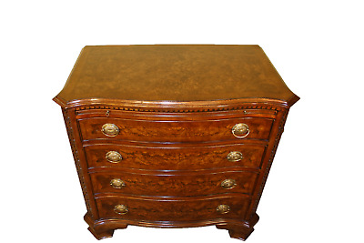 Walnut Burr Serpentine Chest of Drawers with Brush & Slide Chippendale Style