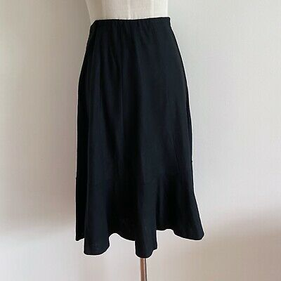 vintage black wool skirt ruffle midi knee pure wool melbourne