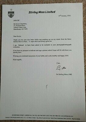 Sir Stirling Moss Signed TYPED Letter.