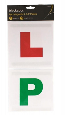 Driving lessons L & P learner plates magnetic learn & pass pack of 4