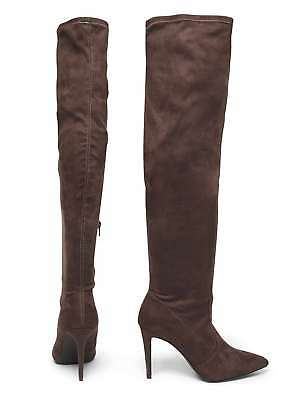 Rrp £49 Dorothy Perkins Size 5 7 Grey Kimberly Faux Suede Over Knee Thigh Boots