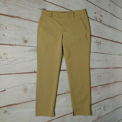 Zara Woman Tan Ankle Pants Size Small Stretch Pockets Flat Front Career Work EUC