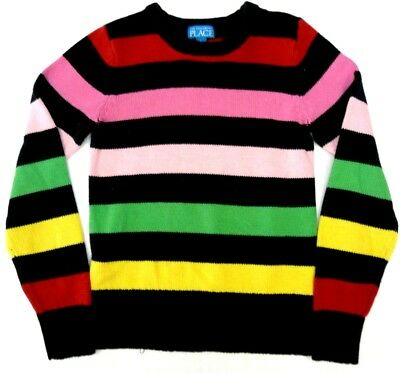 The Childrens Place Girls Large 10-12 Sweater Multicolor Striped Black Red Pink