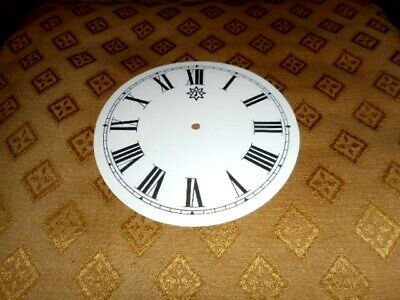 """Round Junghans Paper (Card) Clock Dial - 4 1/2"""" M/T - GLOSS WHITE - Roman -Parts"""