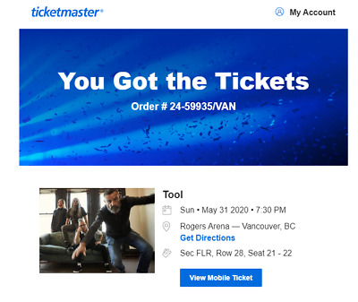 TOOL FLOOR TICKETS ROGERS VANCOUVER!!!!!! SOLD OUT!!!!! 2 TICKETS May 31