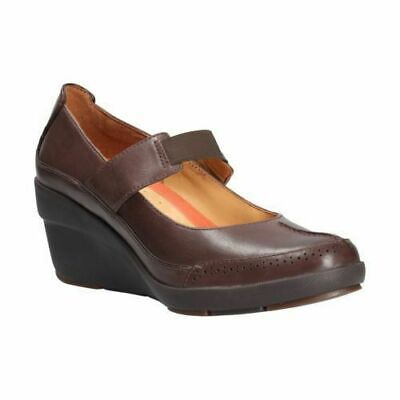 Clarks Un Chelsea Brown Leather Bar Wedge Shoes Uk Size 9 D