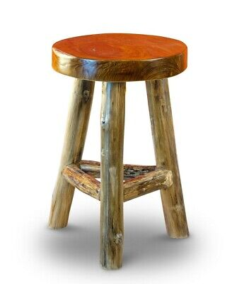 Teak Stool Solid Wood Chair Seat Sitting Real Antique Three-Leg