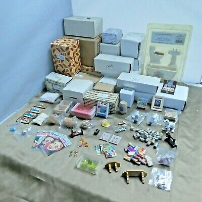 Dollhouse Miniature Furniture Lot Bunk-Bed Bathroom Sets Couch Armchairs Tables