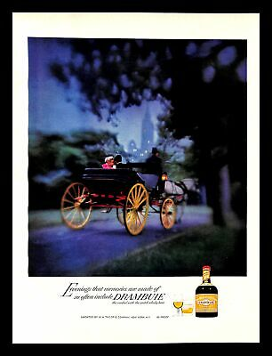 1969 Drambuie Scotch Whisky Vintage PRINT AD Cordial Horse Carriage Ride Park