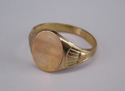 Jugendstil Gold Vlies Ring, Gravurplatte, RG 65 (S 3815)