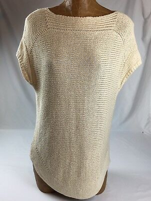 Talbots Womens Beige Knit Top Blouse Short Sleeve Size M