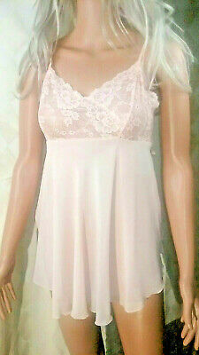 Victorias Secret Lingerie - Babydoll Chemise Sheer & Lace Nightie  Blush ~  S