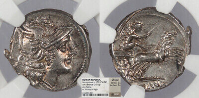 ROMAN REPUBLICAN Anonymous AR Denarius 157-156 B.C. NGC Choice AU